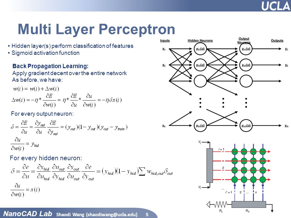 NanoCAD Lab Multi Layer Perceptron Shaodi Wang (shaodiwang@ucla.edu)5 Hidden layer(s) perform classification of features Sigmoid activation function B