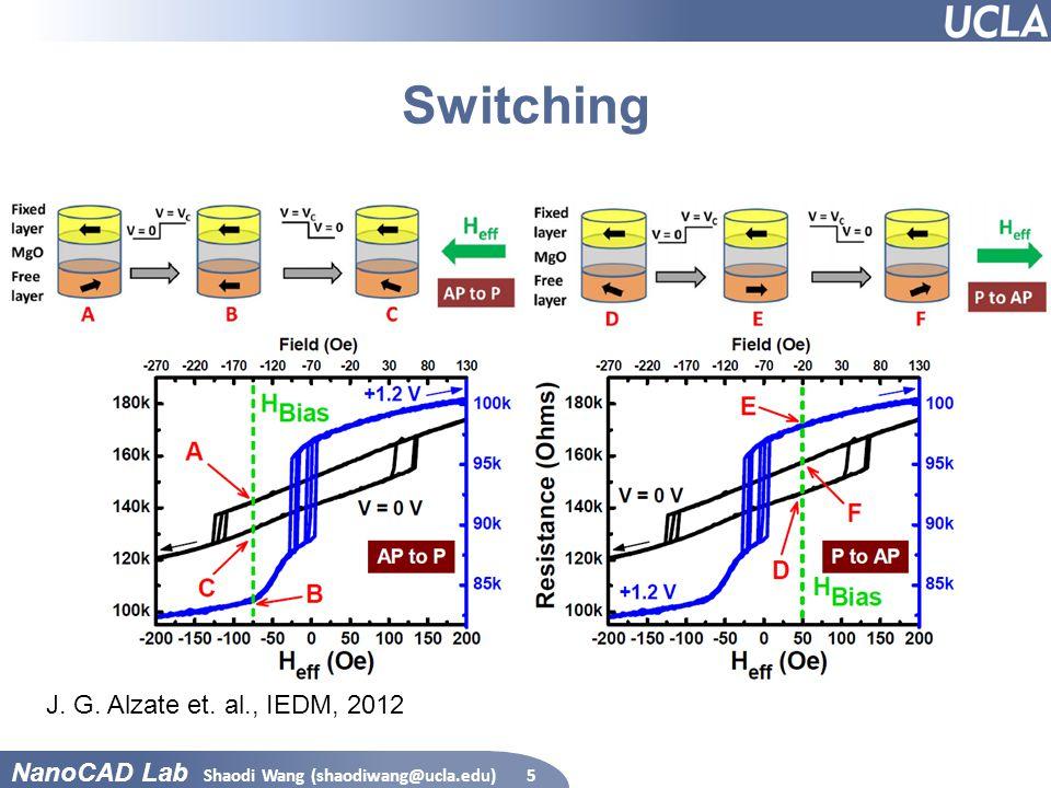 NanoCAD Lab Switching Shaodi Wang (shaodiwang@ucla.edu)5 J. G. Alzate et. al., IEDM, 2012