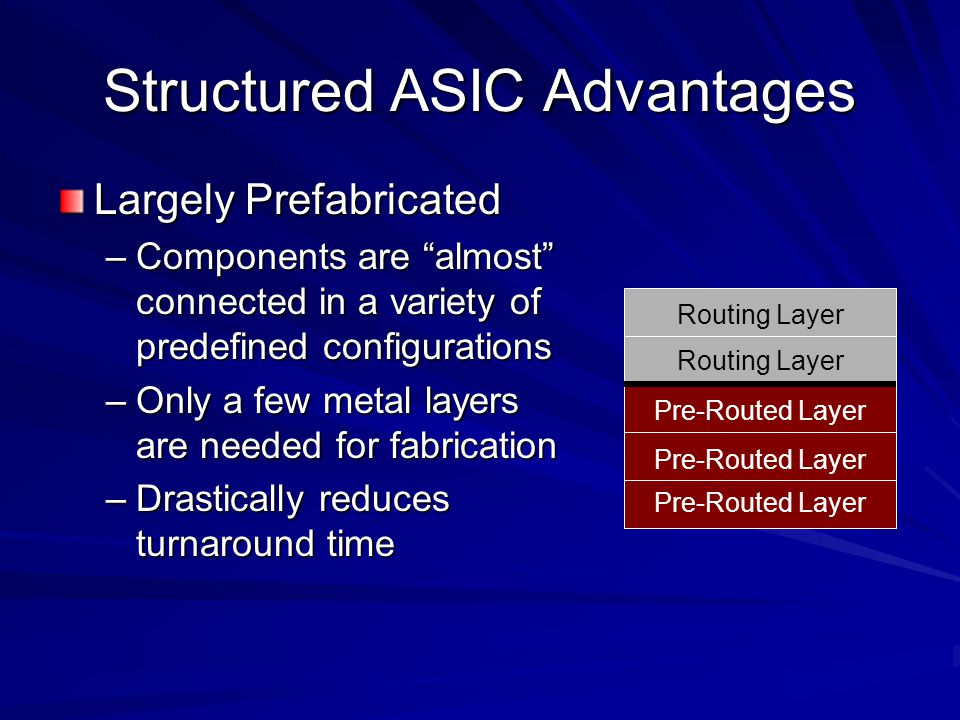 Structured ASIC Advantages Largely Prefabricated –Components are almost connected in a variety of predefined configurations –Only a few metal layers are needed for fabrication –Drastically reduces turnaround time Pre-Routed Layer Routing Layer