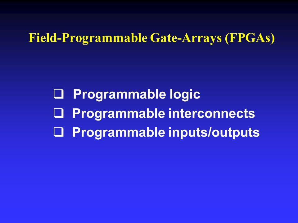   Programmable logic   Programmable interconnects   Programmable inputs/outputs Field-Programmable Gate-Arrays (FPGAs)