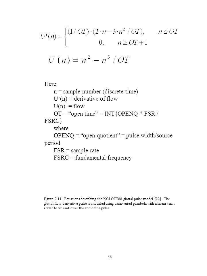 58 Here: n = sample number (discrete time) U'(n) = derivative of flow U(n) = flow OT = open time = INT{OPENQ * FSR / FSRC} where OPENQ = open quotient = pulse width/source period FSR = sample rate FSRC = fundamental frequency Figure 2.11.