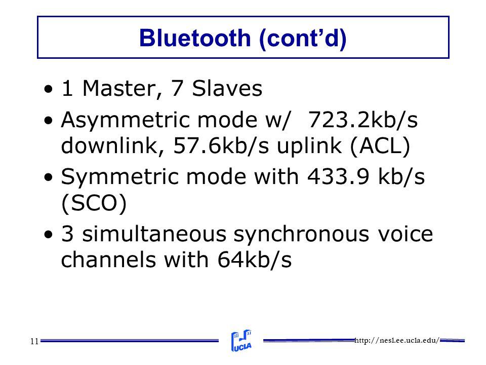 http://nesl.ee.ucla.edu/ 11 Bluetooth (cont'd) 1 Master, 7 Slaves Asymmetric mode w/ 723.2kb/s downlink, 57.6kb/s uplink (ACL) Symmetric mode with 433