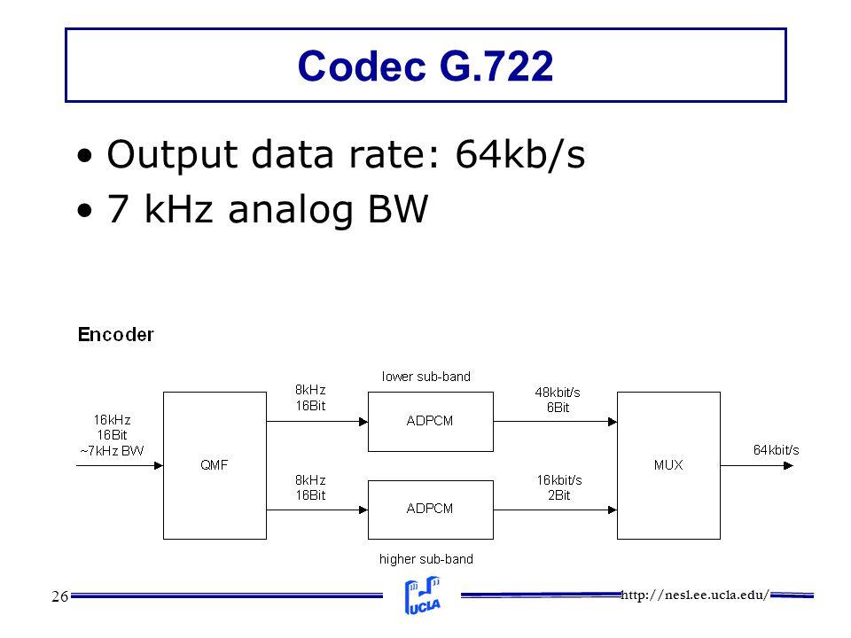 http://nesl.ee.ucla.edu/ 26 Codec G.722 Output data rate: 64kb/s 7 kHz analog BW