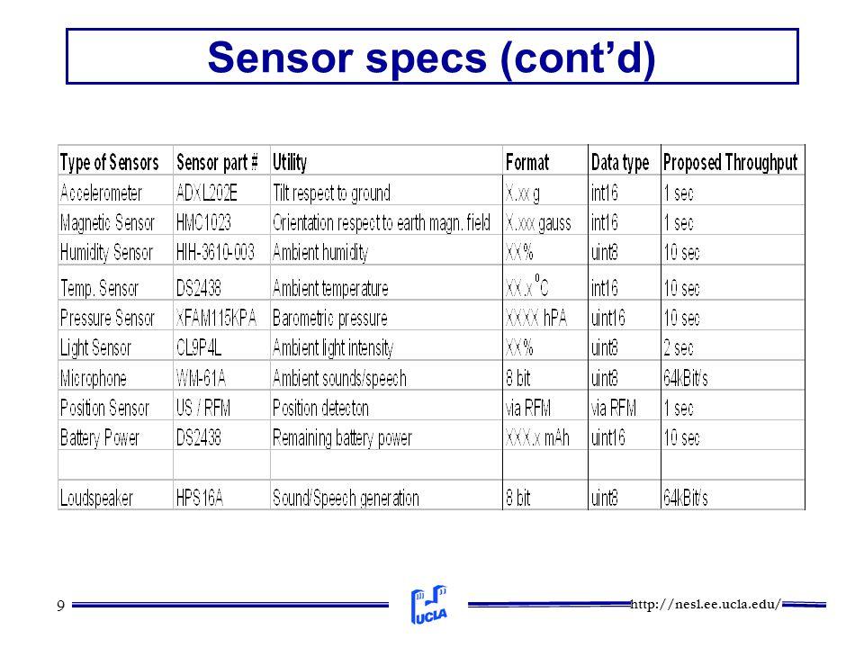 http://nesl.ee.ucla.edu/ 9 Sensor specs (cont'd)