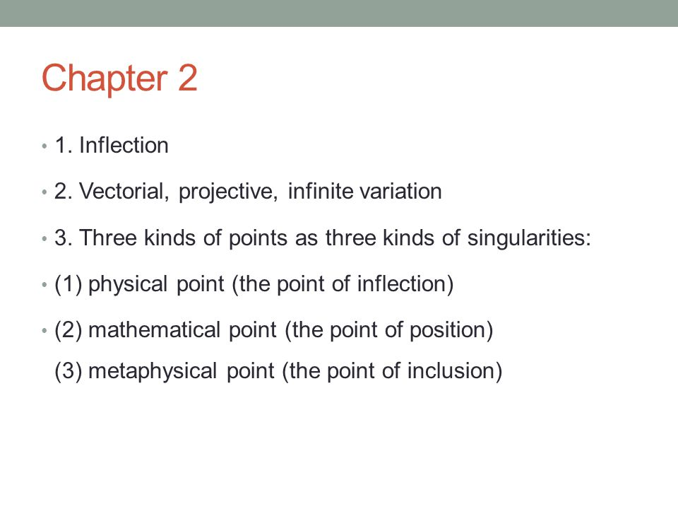 Chapter 2 1. Inflection 2. Vectorial, projective, infinite variation 3. Three kinds of points as three kinds of singularities: (1) physical point (the