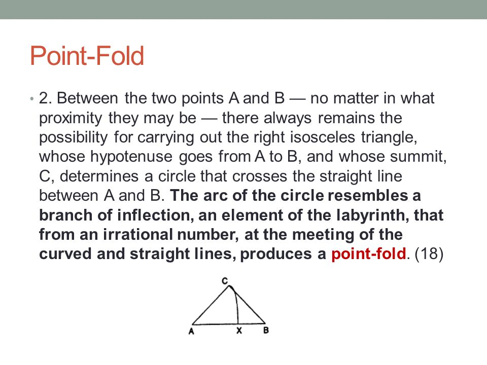 Point-Fold 2. Between the two points A and B — no matter in what proximity they may be — there always remains the possibility for carrying out the rig