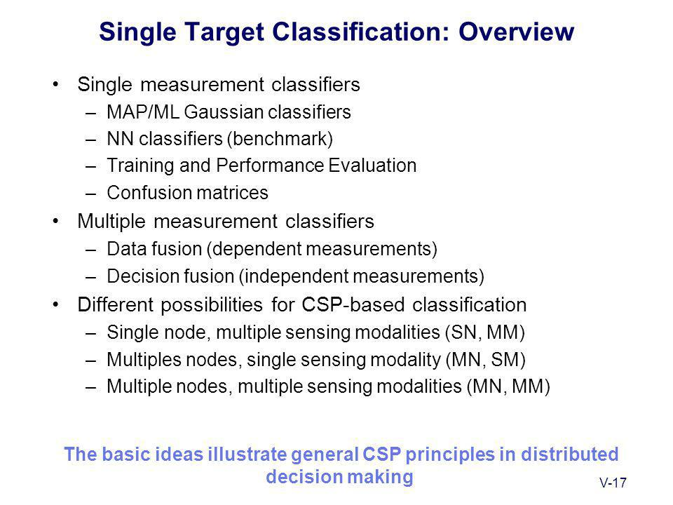 V-17 Single Target Classification: Overview Single measurement classifiers –MAP/ML Gaussian classifiers –NN classifiers (benchmark) –Training and Performance Evaluation –Confusion matrices Multiple measurement classifiers –Data fusion (dependent measurements) –Decision fusion (independent measurements) Different possibilities for CSP-based classification –Single node, multiple sensing modalities (SN, MM) –Multiples nodes, single sensing modality (MN, SM) –Multiple nodes, multiple sensing modalities (MN, MM) The basic ideas illustrate general CSP principles in distributed decision making