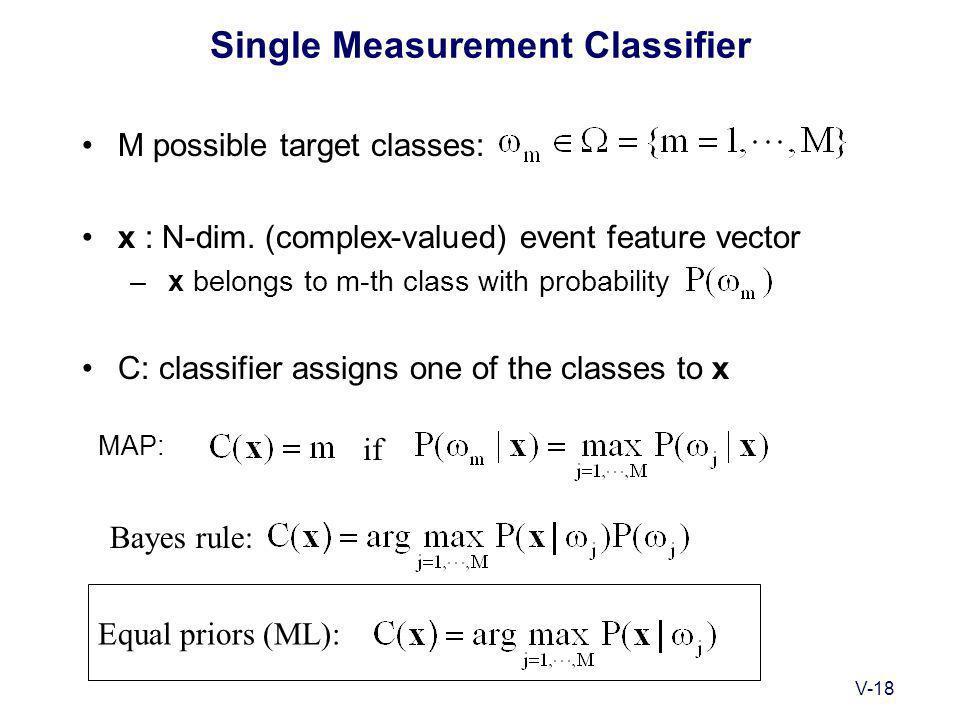 V-18 Single Measurement Classifier M possible target classes: x : N-dim.