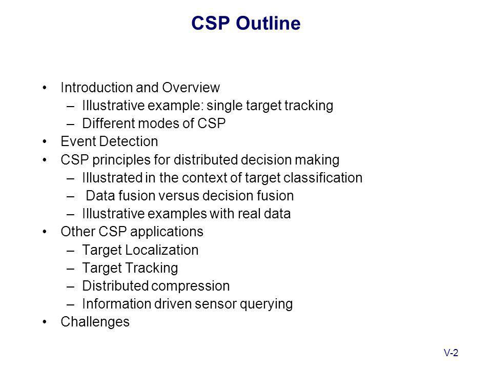 V-2 CSP Outline Introduction and Overview –Illustrative example: single target tracking –Different modes of CSP Event Detection CSP principles for distributed decision making –Illustrated in the context of target classification – Data fusion versus decision fusion –Illustrative examples with real data Other CSP applications –Target Localization –Target Tracking –Distributed compression –Information driven sensor querying Challenges