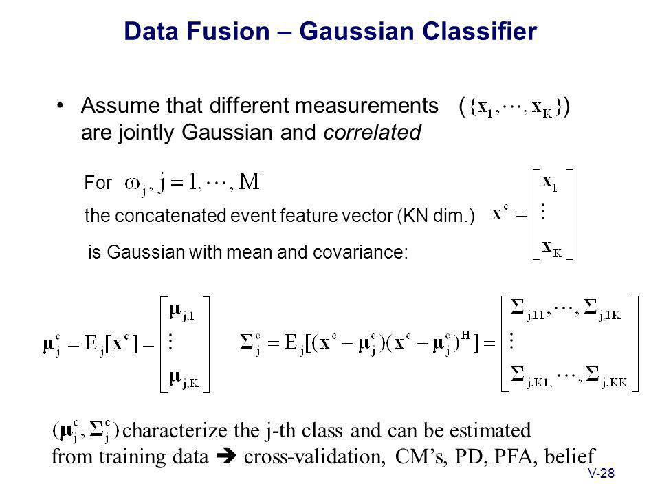V-28 Data Fusion – Gaussian Classifier Assume that different measurements ( ) are jointly Gaussian and correlated For characterize the j-th class and can be estimated from training data  cross-validation, CM's, PD, PFA, belief the concatenated event feature vector (KN dim.) is Gaussian with mean and covariance: