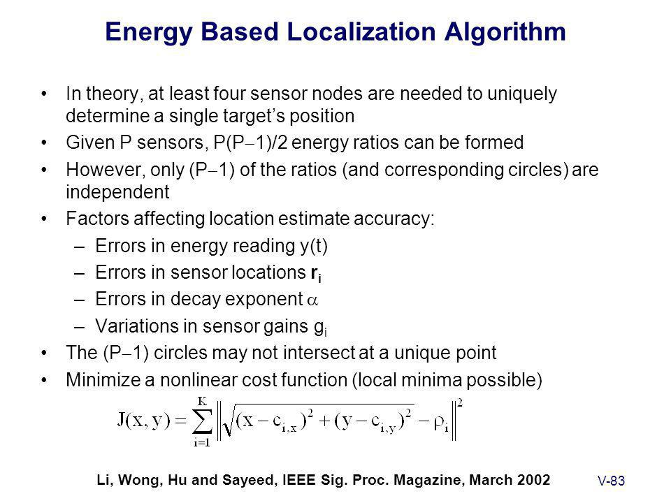 V-83 Energy Based Localization Algorithm In theory, at least four sensor nodes are needed to uniquely determine a single target's position Given P sensors, P(P  1)/2 energy ratios can be formed However, only (P  1) of the ratios (and corresponding circles) are independent Factors affecting location estimate accuracy: –Errors in energy reading y(t) –Errors in sensor locations r i –Errors in decay exponent  –Variations in sensor gains g i The (P  1) circles may not intersect at a unique point Minimize a nonlinear cost function (local minima possible) Li, Wong, Hu and Sayeed, IEEE Sig.