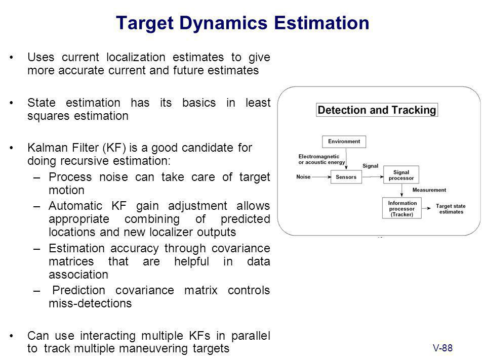 V-88 Target Dynamics Estimation Uses current localization estimates to give more accurate current and future estimates State estimation has its basics in least squares estimation Kalman Filter (KF) is a good candidate for doing recursive estimation: –Process noise can take care of target motion –Automatic KF gain adjustment allows appropriate combining of predicted locations and new localizer outputs –Estimation accuracy through covariance matrices that are helpful in data association – Prediction covariance matrix controls miss-detections Can use interacting multiple KFs in parallel to track multiple maneuvering targets