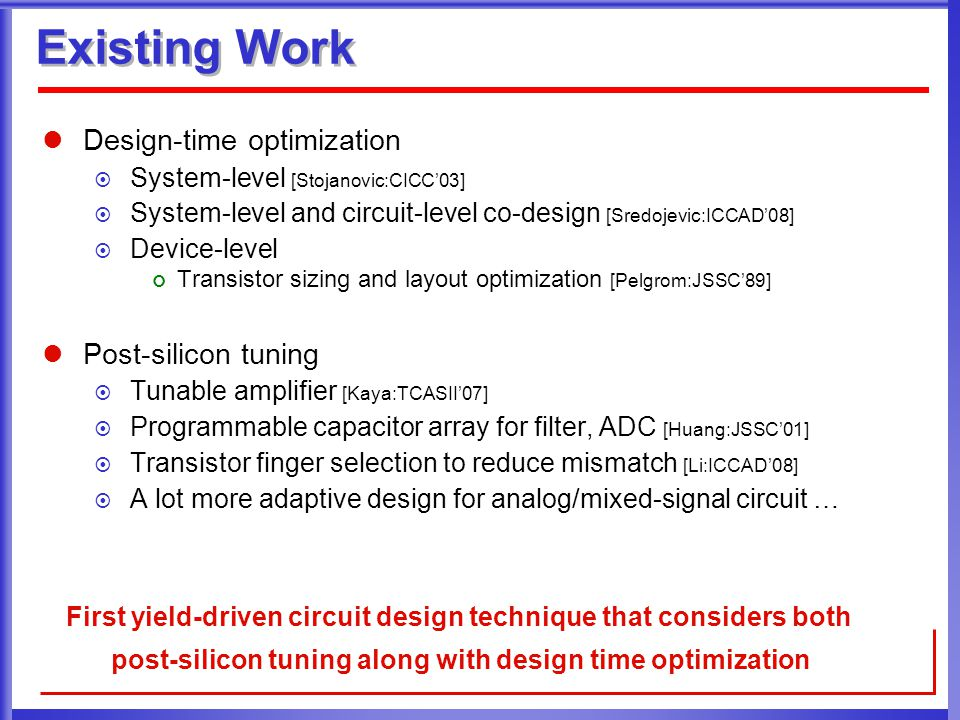 Existing Work Design-time optimization  System-level [Stojanovic:CICC'03]  System-level and circuit-level co-design [Sredojevic:ICCAD'08]  Device-l