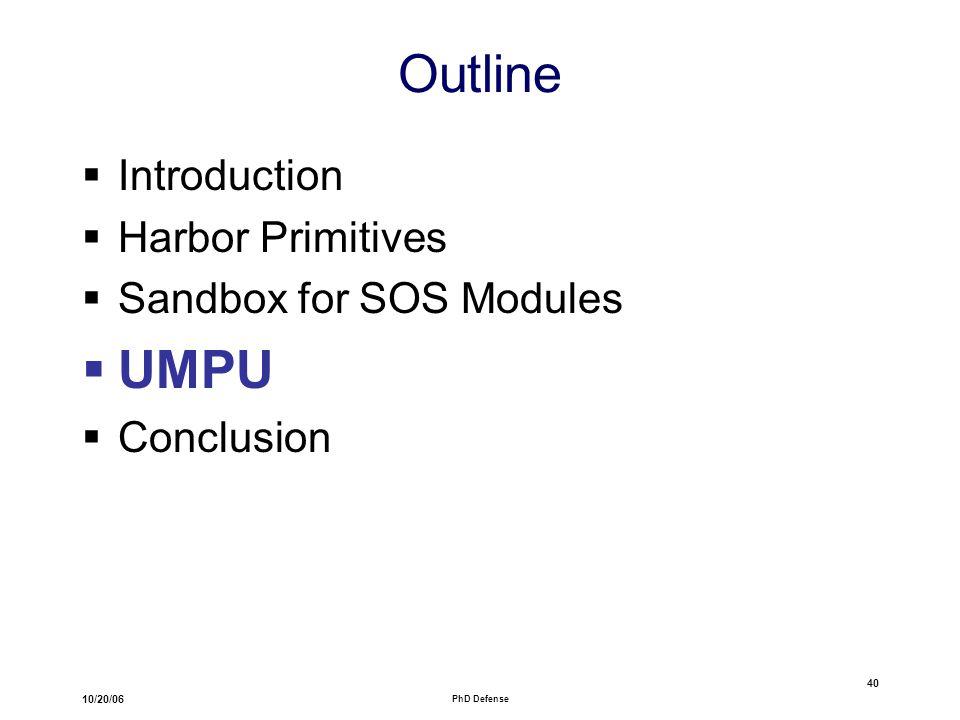 10/20/06 PhD Defense 40 Outline  Introduction  Harbor Primitives  Sandbox for SOS Modules  UMPU  Conclusion