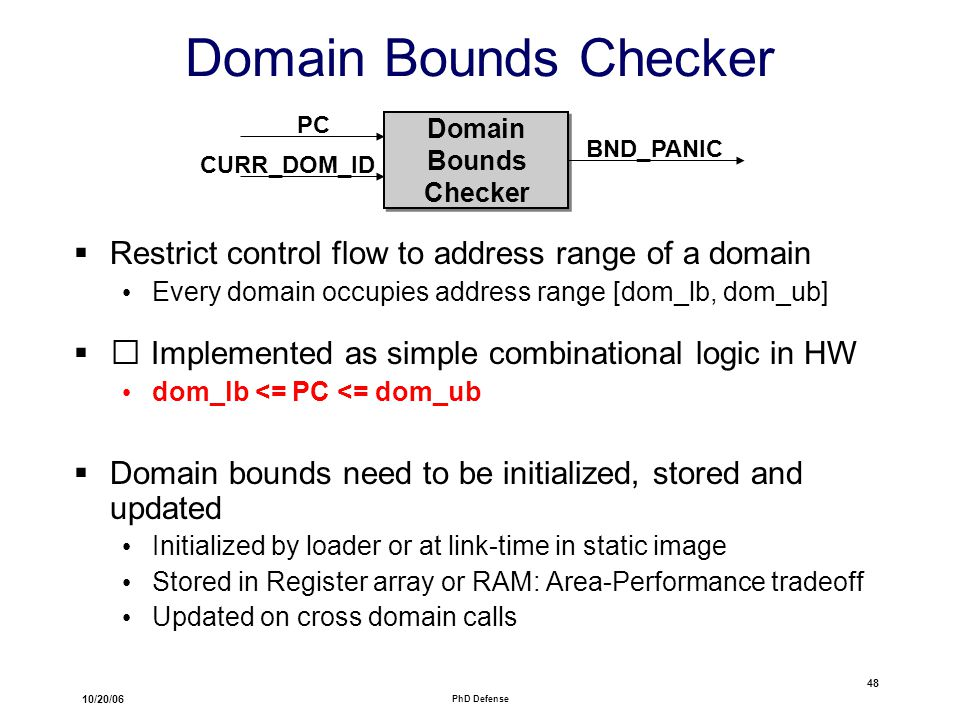 10/20/06 PhD Defense 48 Domain Bounds Checker  Restrict control flow to address range of a domain Every domain occupies address range [dom_lb, dom_ub]  Implemented as simple combinational logic in HW dom_lb <= PC <= dom_ub  Domain bounds need to be initialized, stored and updated Initialized by loader or at link-time in static image Stored in Register array or RAM: Area-Performance tradeoff Updated on cross domain calls Domain Bounds Checker Domain Bounds Checker PC CURR_DOM_ID BND_PANIC