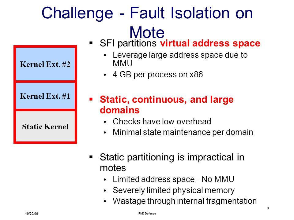 10/20/06 PhD Defense 7 Challenge - Fault Isolation on Mote  SFI partitions virtual address space Leverage large address space due to MMU 4 GB per process on x86  Static, continuous, and large domains Checks have low overhead Minimal state maintenance per domain  Static partitioning is impractical in motes Limited address space - No MMU Severely limited physical memory Wastage through internal fragmentation Kernel Ext.