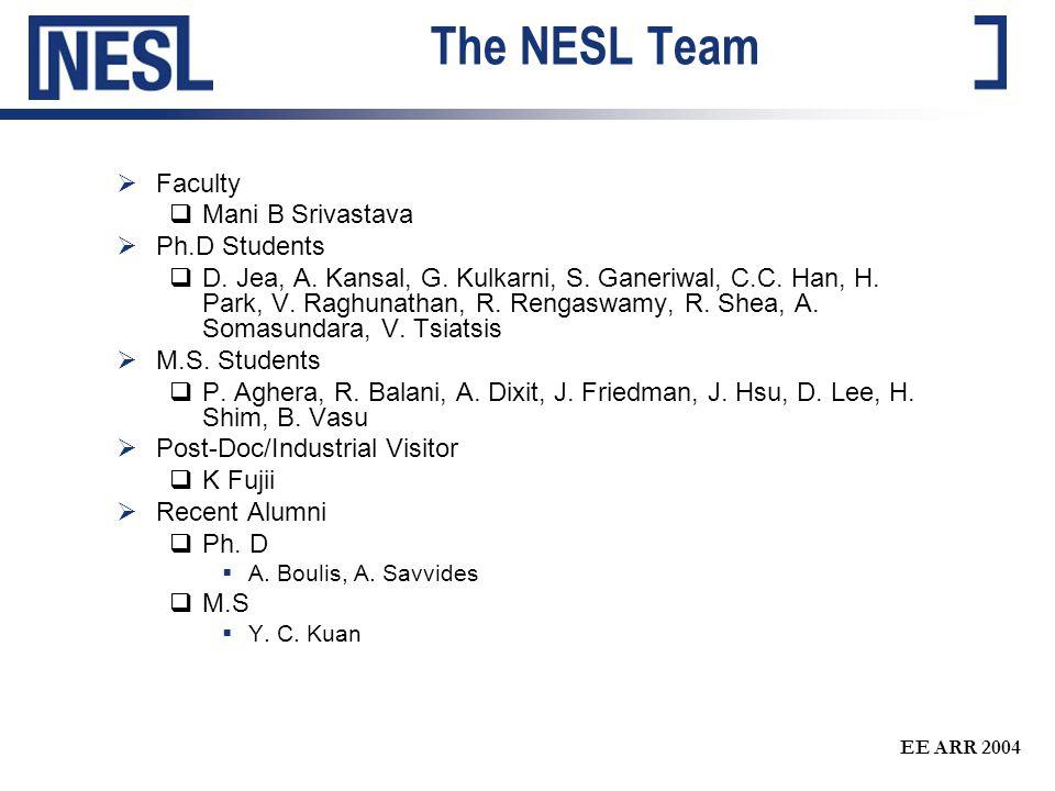 EE ARR 2004 The NESL Team  Faculty  Mani B Srivastava  Ph.D Students  D. Jea, A. Kansal, G. Kulkarni, S. Ganeriwal, C.C. Han, H. Park, V. Raghunat