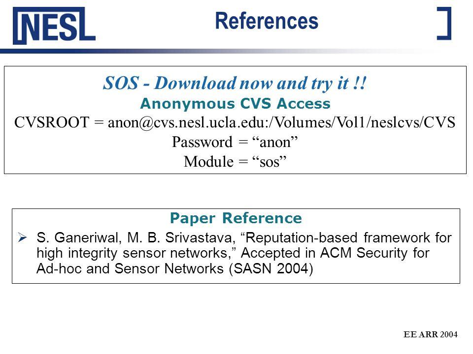 "EE ARR 2004 References Paper Reference  S. Ganeriwal, M. B. Srivastava, ""Reputation-based framework for high integrity sensor networks,"" Accepted in"