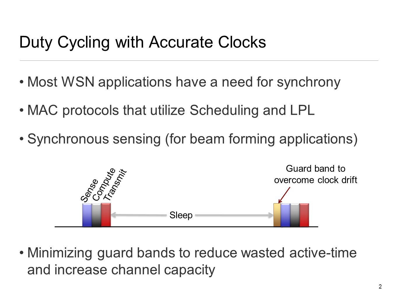 Duty Cycling with Accurate Clocks Most WSN applications have a need for synchrony MAC protocols that utilize Scheduling and LPL Synchronous sensing (for beam forming applications) Minimizing guard bands to reduce wasted active-time and increase channel capacity 2 Sense Compute Sleep Guard band to overcome clock drift Transmit