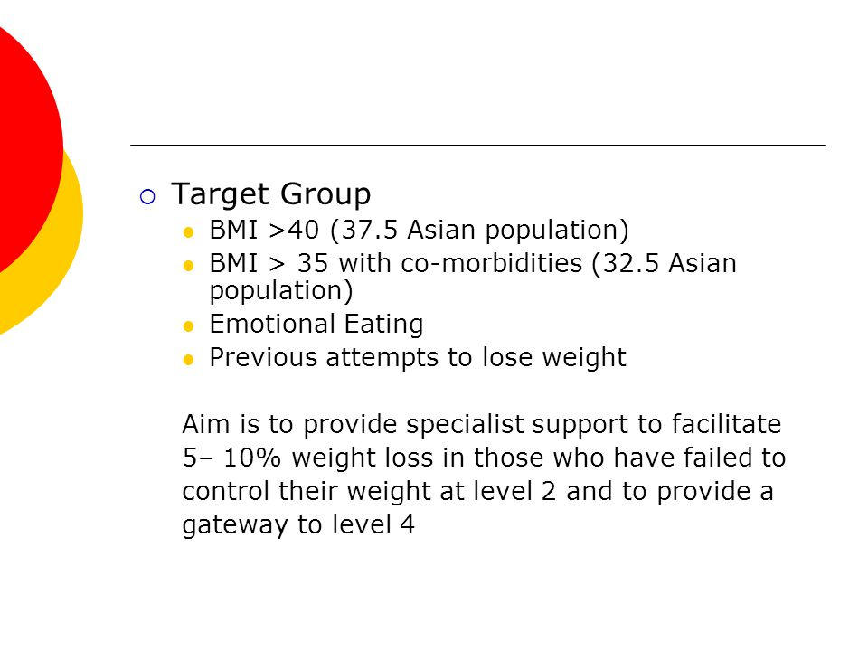  Target Group BMI >40 (37.5 Asian population) BMI > 35 with co-morbidities (32.5 Asian population) Emotional Eating Previous attempts to lose weight Aim is to provide specialist support to facilitate 5– 10% weight loss in those who have failed to control their weight at level 2 and to provide a gateway to level 4