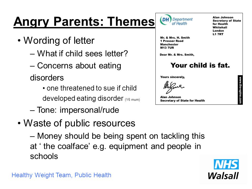 Healthy Weight Team, Public Health Wording of letter – What if child sees letter.
