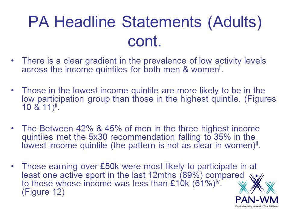 PA Headline Statements (Adults) cont.