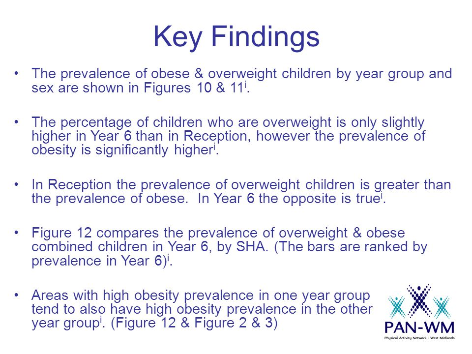 Key Findings The prevalence of obese & overweight children by year group and sex are shown in Figures 10 & 11 i. The percentage of children who are ov