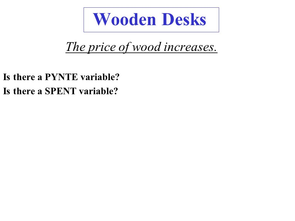 Wooden Desks The price of wood increases. Is there a PYNTE variable? Is there a SPENT variable?