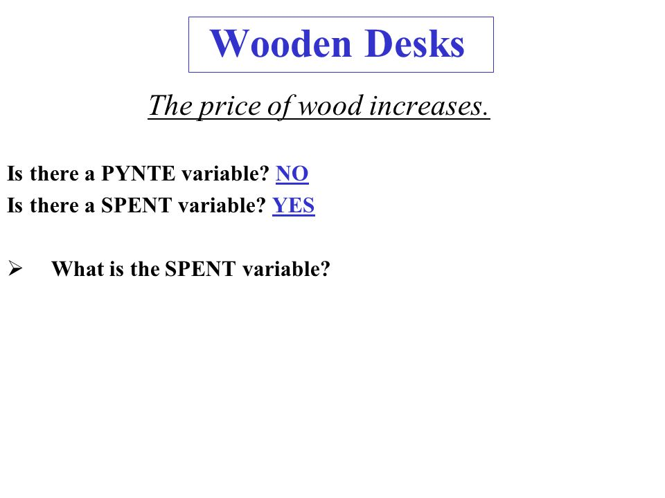 Wooden Desks The price of wood increases. Is there a PYNTE variable.
