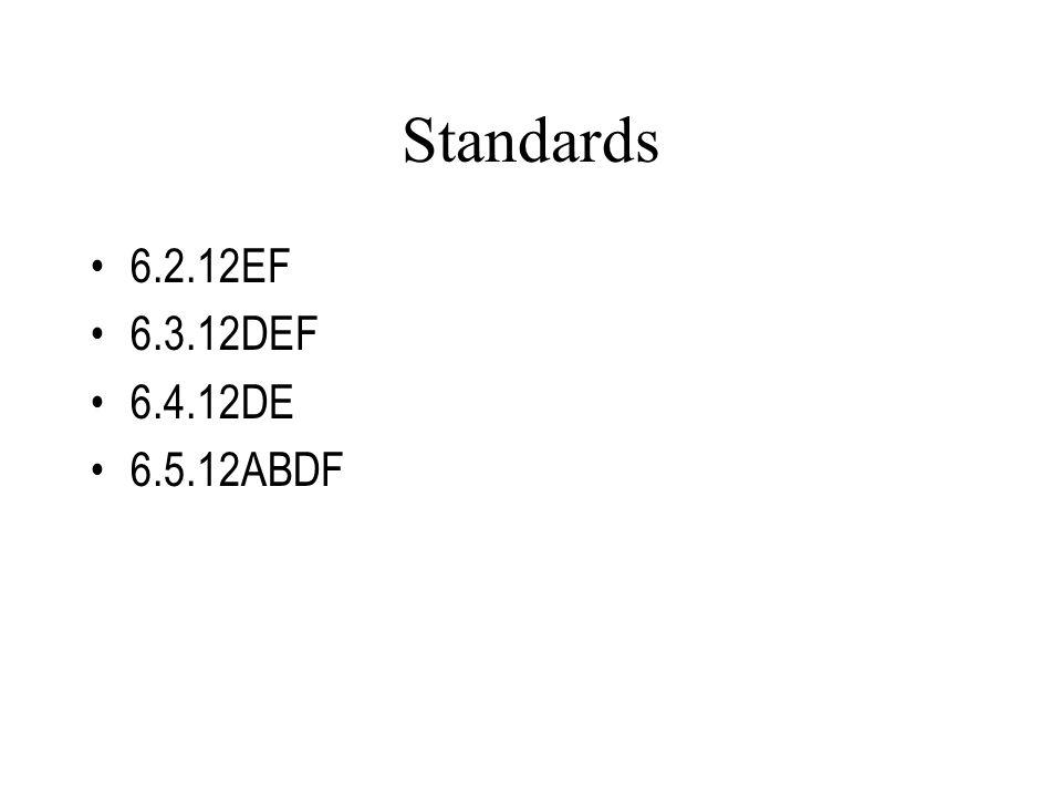 Standards 6.2.12EF 6.3.12DEF 6.4.12DE 6.5.12ABDF