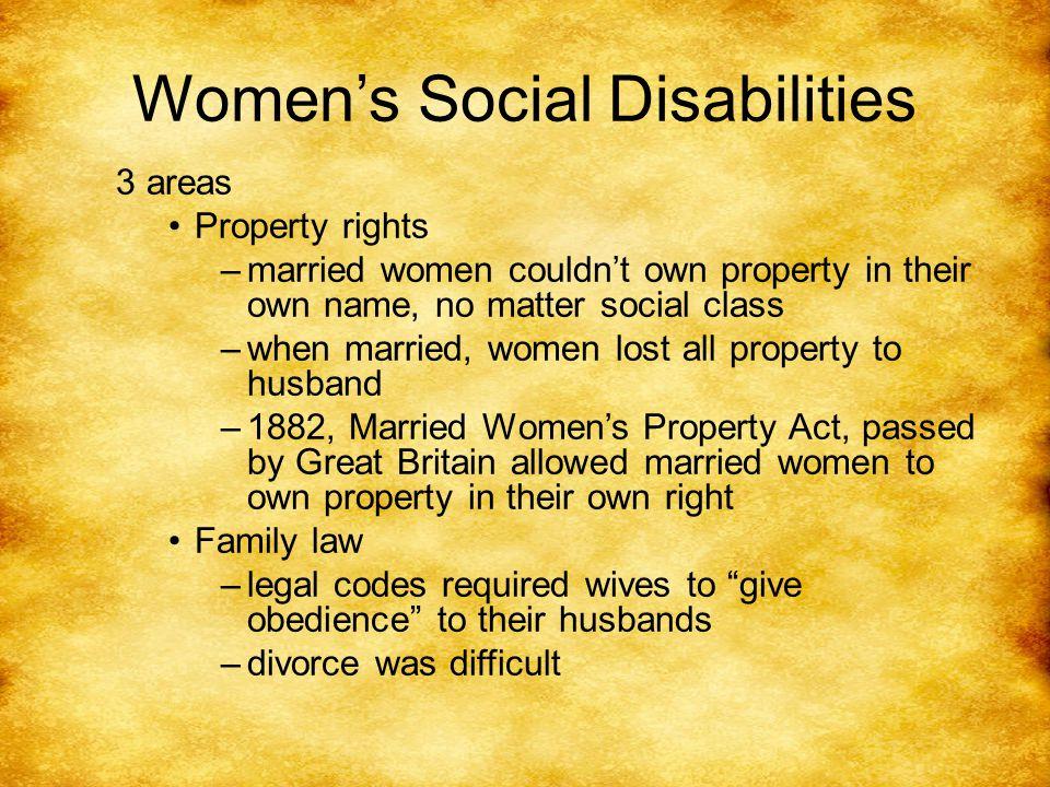 Social Disabilities, Con't.