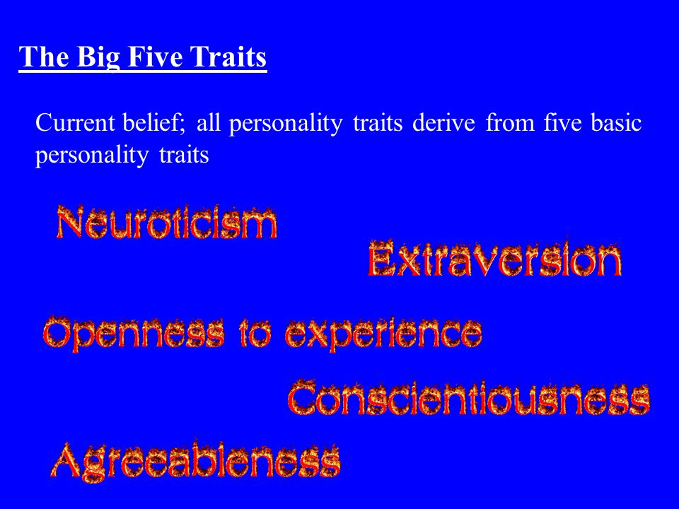 The Big Five Traits Current belief; all personality traits derive from five basic personality traits