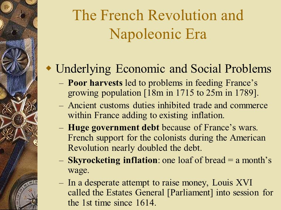 The French Revolution and Napoleonic Era  Underlying Economic and Social Problems – Poor harvests led to problems in feeding France's growing populat