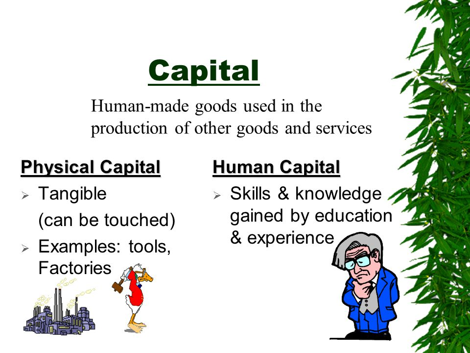 Capital Physical Capital  Tangible (can be touched)  Examples: tools, Factories Human Capital  Skills & knowledge gained by education & experience Human-made goods used in the production of other goods and services