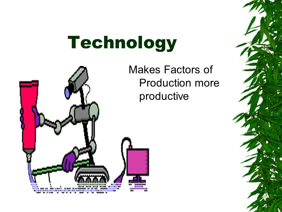 Technology Makes Factors of Production more productive