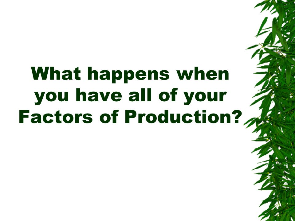 What happens when you have all of your Factors of Production?