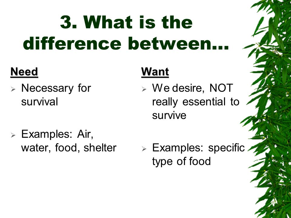 3. What is the difference between… Need  Necessary for survival  Examples: Air, water, food, shelterWant  We desire, NOT really essential to surviv