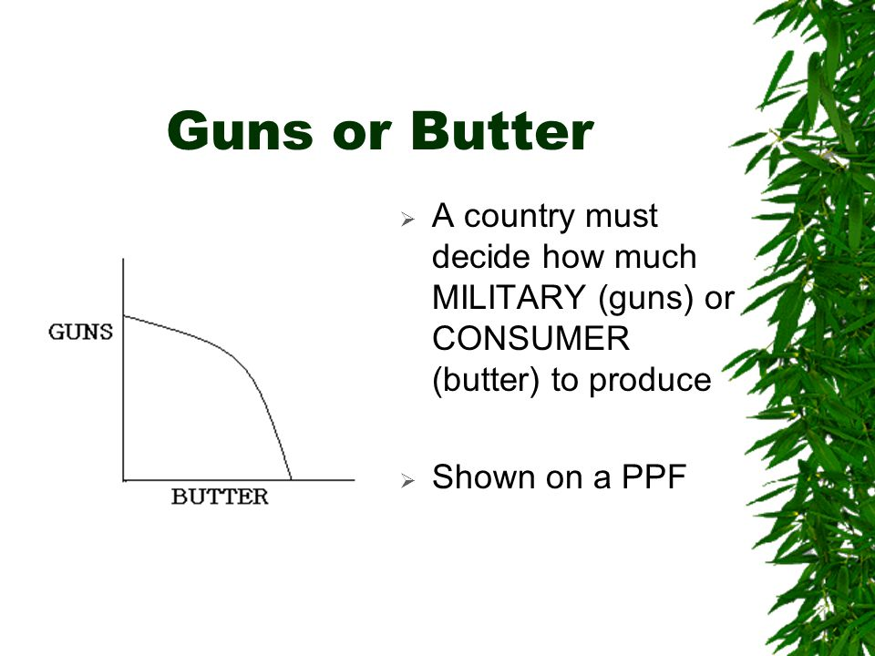 Guns or Butter  A country must decide how much MILITARY (guns) or CONSUMER (butter) to produce  Shown on a PPF