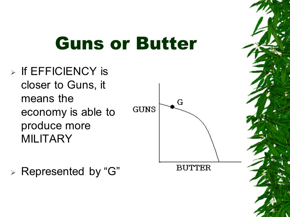 Guns or Butter  If EFFICIENCY is closer to Guns, it means the economy is able to produce more MILITARY  Represented by G