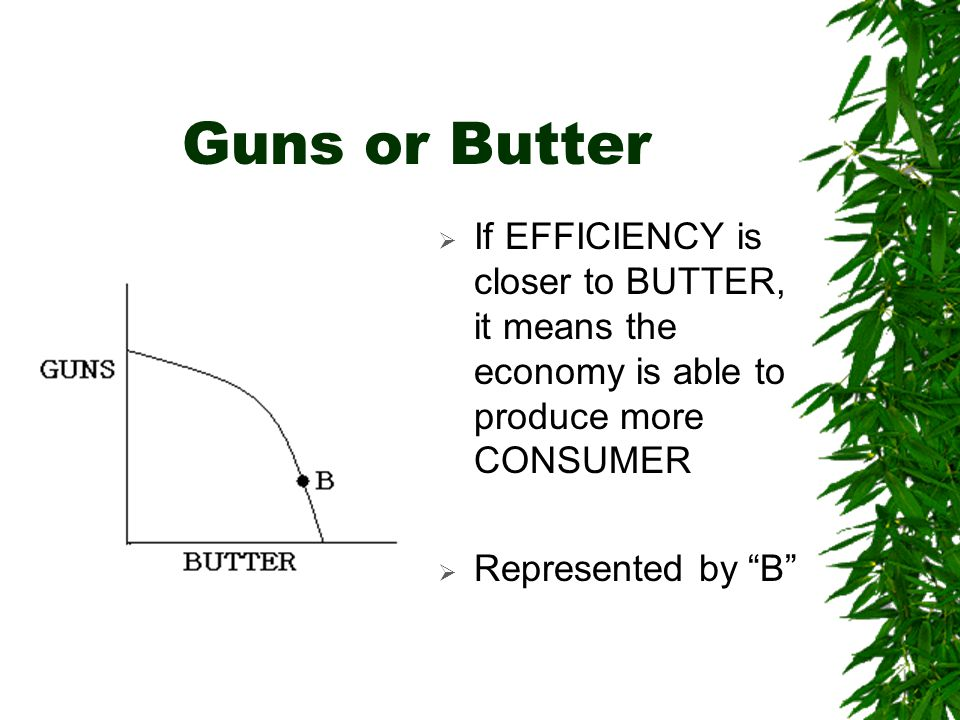 Guns or Butter  If EFFICIENCY is closer to BUTTER, it means the economy is able to produce more CONSUMER  Represented by B