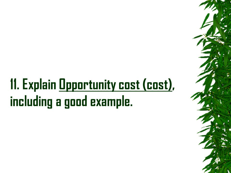 11. Explain Opportunity cost (cost), including a good example.