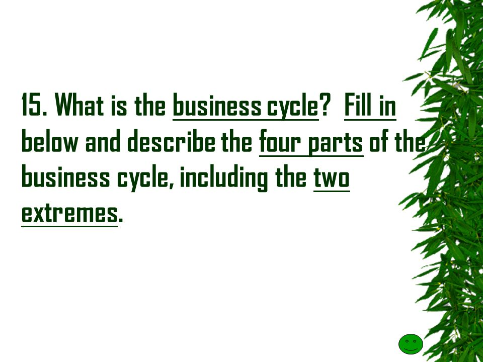 15.What is the business cycle.