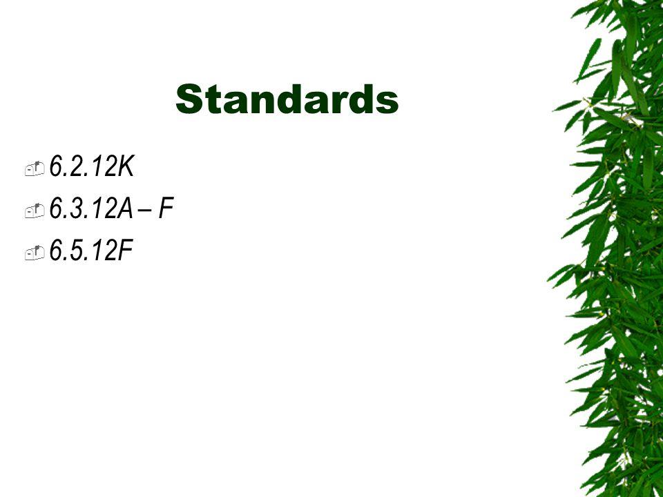 Standards  6.2.12K  6.3.12A – F  6.5.12F