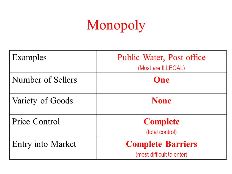 Monopoly ExamplesPublic Water, Post office (Most are ILLEGAL) Number of SellersOne Variety of GoodsNone Price ControlComplete (total control) Entry in
