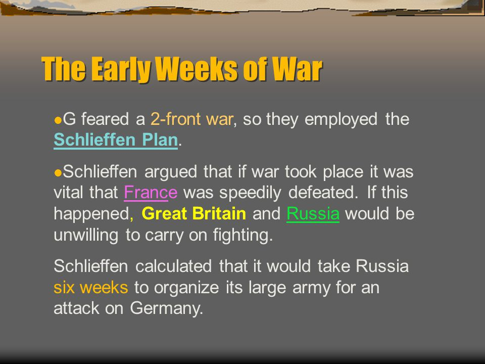 The Early Weeks of War Schlieffen s plan involved using 90% of Germany s armed forces to attack France.