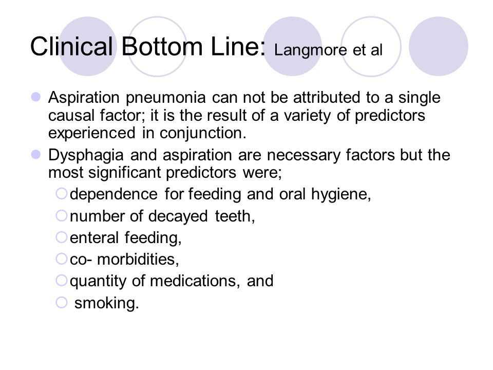 Clinical Bottom Line: Langmore et al Aspiration pneumonia can not be attributed to a single causal factor; it is the result of a variety of predictors experienced in conjunction.