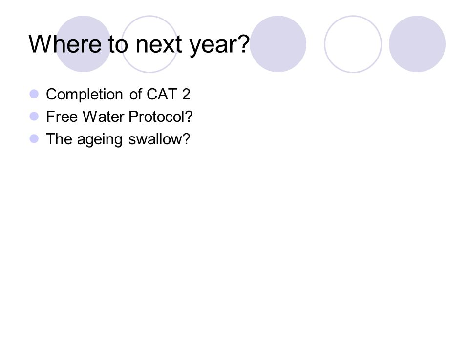 Where to next year? Completion of CAT 2 Free Water Protocol? The ageing swallow?