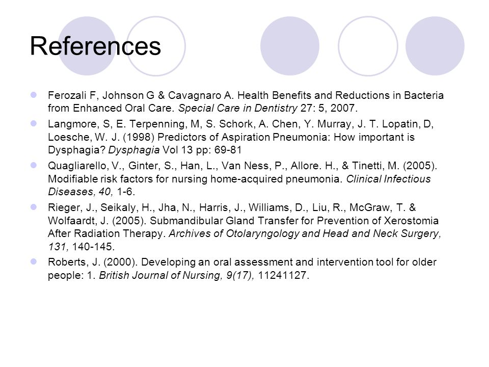 References Ferozali F, Johnson G & Cavagnaro A. Health Benefits and Reductions in Bacteria from Enhanced Oral Care. Special Care in Dentistry 27: 5, 2