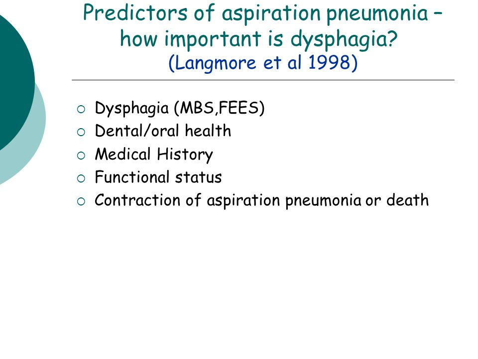 Predictors of aspiration pneumonia – how important is dysphagia.