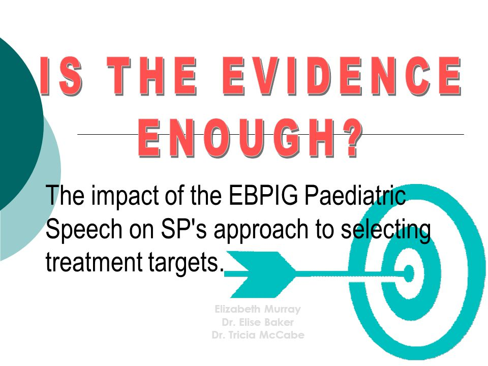The impact of the EBPIG Paediatric Speech on SP's approach to selecting treatment targets. Elizabeth Murray Dr. Elise Baker Dr. Tricia McCabe